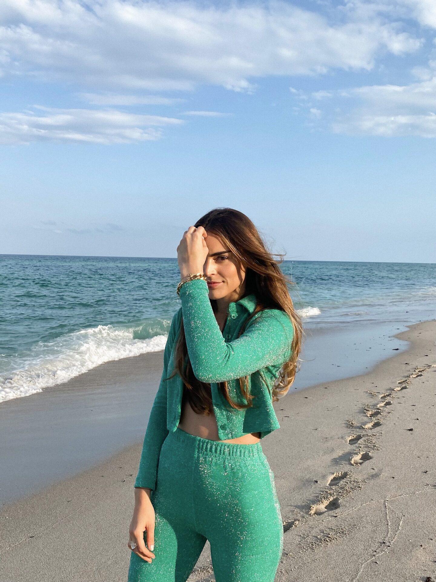 Carolina Arango in terry cloth Frankie's Bikini Set via Revolve